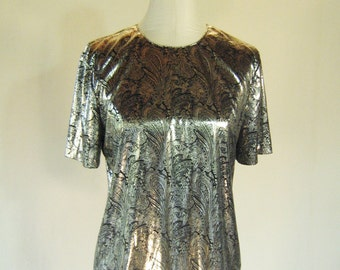 Silver Paisley Liquid Metal Shirt Top Glam