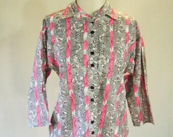 Hot Pink Striped Button Down Shirt Top