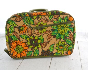 1970s Small Floral Suitcase