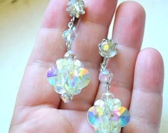 1960s Iridescent Crystal Dangle Clip Earrings
