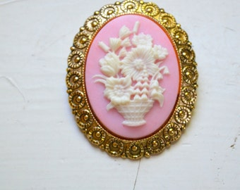 1950s Western Germany Floral Cameo Brooch