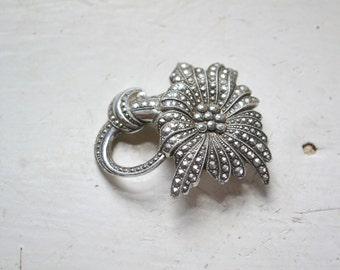 1950s West German Eloxal Faux Marcasite Brooch