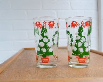 1960s Christmas Tree Drinking Glasses, Set of 2