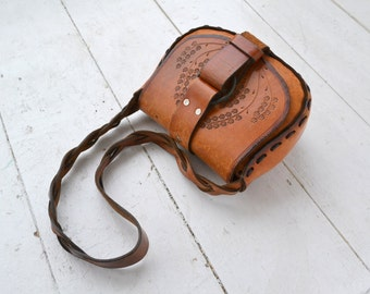1970s Hand Tooled Leather Shoulder Bag