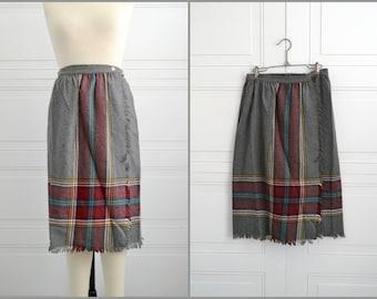 1980s Wool Plaid Wrap Skirt