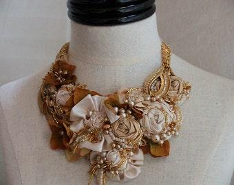 AURELIA Golden Textile Mixed Media Statement Necklace