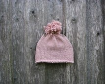 Light pink Hat Pom pom pon Winter Hat Soft Wool Hat Hat for Woman Knitted Hat Hand knitted For Winter for Autumn Choose your color