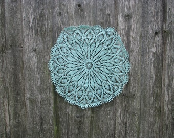 Crochet doily Linen Doily Hand Made Round Doily Mint color Doily Table Lace Floral Ornament Home Decoration housewarming gift