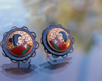 Geisha Earrings, Japanese Style ca. 1960s