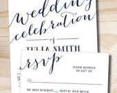 Rustic Script Celebrate Wedding Invitation Response Card - Design only / Digital Files