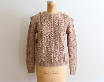 vintage 80s hand knit shetland wool sweater - 1980s cableknit sweater / Pale Mushroom - taupe wool sweater / ladies chunky pullover