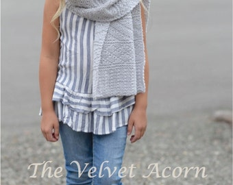 KNITTING PATTERN-The Waterfall Wrap (Small, Medium, Large and xLarge sizes)