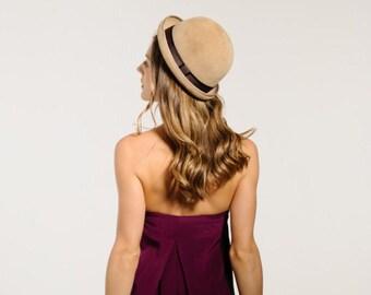 Felt Bowler Hat, Normcore, Womens, Fall, Winter, Felt Hat, Camel
