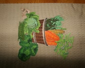 Hand towel with embroidered harvest scene