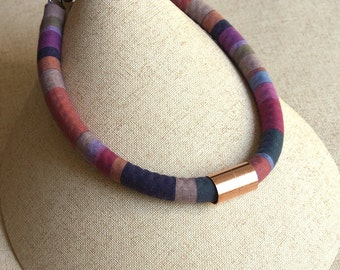 Jewel Stripes Fabric Rope Necklace with Copper Accent