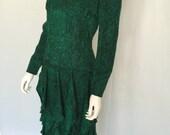 VintageCarolina Herrera Neiman Marcus Timeless Courtier Emerald Green and Black Silk Print Dress - FREE SHIPPING IN U.S.