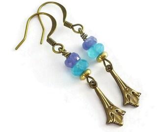 Tanzanite Chalcedony Earrings, Bohemian Earrings, Indie Jewelry, Beaded Gemstone Earrings,  Art Deco