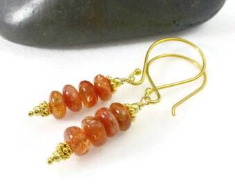 Sunstone Earrings, Sunstone Jewelry, Orange Stone Earrings, Romantic Earrings, Stone Earrings,