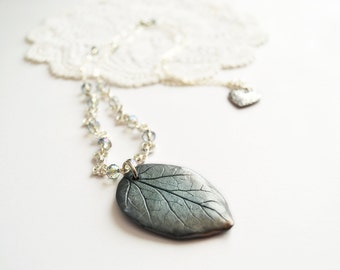 Teal grey necklace with handmade leaf pendant in polymer clay one-of-a-kind ooak