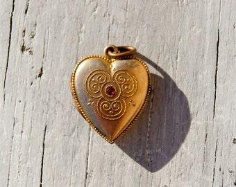 Victorian Gold Fill Heart Locket Pendant