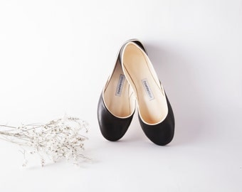 The Audrey Ballet Flats in Black | Black Leather Ballet Flats | Audrey Style Ballet Shoes | Minimalist Shoes in Black