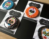 Dia de los Muertos Pin-Back Buttons or Magnet-Back Set of 4
