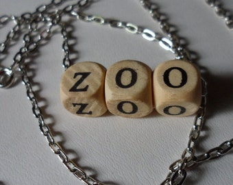 """Zoo Necklace! Ever Feel Like You Live In A Zoo? Wooden Block Letters! New 24"""" Elongated Cable Chain! OOAK Necklace! Free S & H! On Sale Now!"""