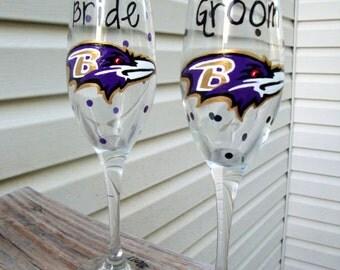 Baltimore Ravens toasting flutes, baltimore wedding, ravens fanatic, maryland love, maryland wedding, hand painted, wedding gift