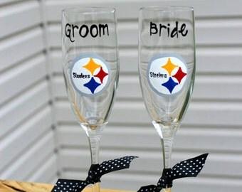 Steelers toasting flutes, Pittsburgh love, Steelers wedding gift, Steelers fan, handpainted flutes, go Steelers, Pittsburgh wedding