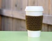 Crocheted Coffee Sleeve in Brown- Coffee Cozy- Java Jacket