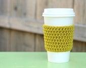 Crocheted Coffee Sleeve in Golden Glow Yellow- Coffee Cozy- Java Jacket