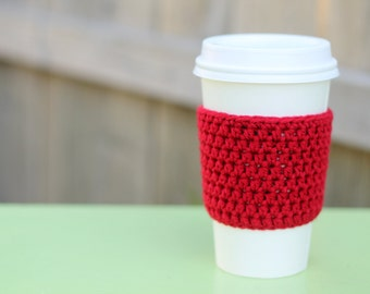 Crocheted Coffee Sleeve in Red- Coffee Cozy- Java Jacket