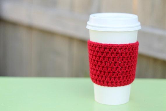 Crocheted Coffee Sleeve in Red- Coffee Cozy- Java Jacket