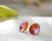 Enamel post earrings - round stud earrings - bright orange earrings - enamel jewelry by Alery
