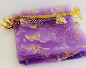 "Purple and Gold Organza Bags Butterfly Print 3.5"" x 4.5""  Favor Bags 20+ Weddings / Party Favors / Jewelry Bags / Trade Shows"