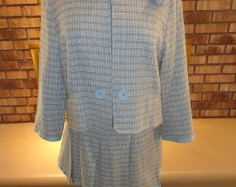 Vintage 1990s Summer Tweed Suit Jacket Skirt