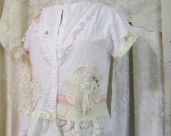 Shabby White Shirt, altered romantic doily lace embellish, womens shabby chic top, lacey white cotton blouse