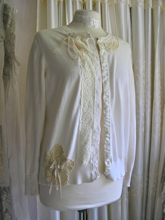 Refashioned Altered Cardigan, cotton creme sweater, shabby cottage chic lace doilies, MEDIUM
