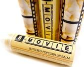 "Buttered Popcorn Lip Balm - ""B-MOVIE"" - vegan natural candelilla lip tube"