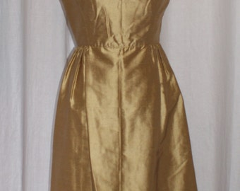 Vintage early 1960s gold cocktail party dress XS rockabilly VLV