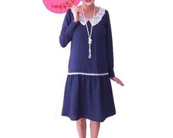 Retro Flapper Dress, Retro Polka Dot Dress , Great Gatsby, Dark Blue, Costume, 1920s Dress, 20s Dress, Roaring 20s ,Downton Abbey, Lace