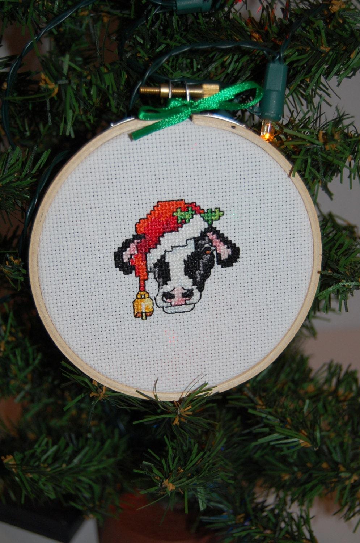 Christmas Cow Cross Stitch Ornament
