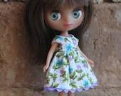 Tiny Blue and Purple Print Dress for Petite Blythe