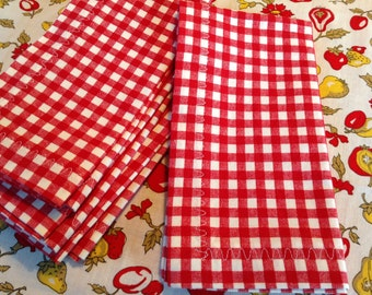 Cloth Dinner Napkins, Cotton Dinner Napkins, Set of 4 Napkins, Red and White Napkins, Picnic Napkins, Handmade Napkins