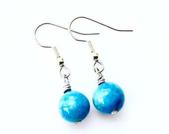 Blue Crazy Lace Agate Round Gemstones . Earrings