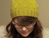 Knitting pattern pdf, knit hat, slouch, beanie, flower