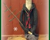 Primitive snowman, prim snowman, primitive christmas, snowman, prim christmas tree, prim snowman with tree