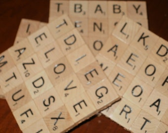 Scrabble Coasters - Set of 4...Made with 80 Real Scrabble Tiles...Full Cork Bottom not Felt...FREE SHIPPING