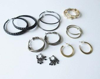Hoop Earring Lot Vintage Hoop Earrings Black Gold Tone Gunmetal Jewelry Sale