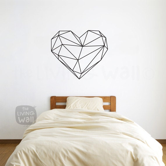 Geometric Heart Wall Decals Home Decor Removable Vinyl Wall